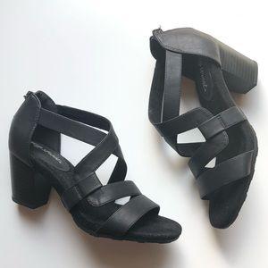 NWOT Easy Street Black Sandal Heel Faux Leather